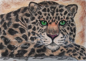 ACEO Leopard Cat Animal Original Artwork Art Card Signed Artist Christmas Gift