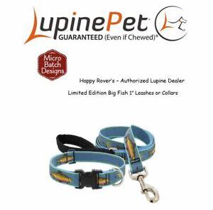 "Lupine Lifetime Guaranty Dog Leash or Collar -1""- LIMITED RUN - SALMON BIG FISH"