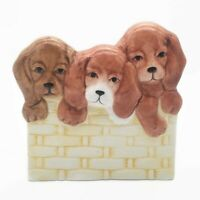 Vintage NAPCO Three Puppies In A Basket Dogs Ceramic Planter Vase FLAWED