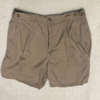 "Claybrooke Men's Pleated Khaki Chino Shorts Size 34 Elastic Waist 6"" inseam *"