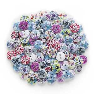 50pcs Printing Series Wood Buttons for Sewing Scrapbooking Cloth Home Decor 15mm