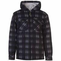 Dunlop Mens Full Zip Checked Hoody Hooded Jacket Hoodie Top Coat Long Sleeve