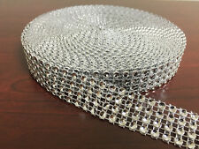 "3/4""x10 Yards Silver DIAMOND MESH WRAP ROLL SPARKLE RHINESTONE Crystal Ribbon"