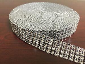 """3/4""""x10 Yards Silver DIAMOND MESH WRAP ROLL SPARKLE RHINESTONE Crystal Ribbon"""