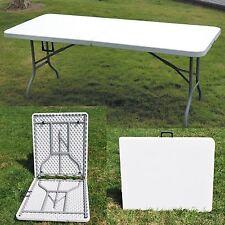 Nuevo Blanco 6ft batea Medio Plegable Mesa De Banquete Fiesta de jardín al aire libre campamento