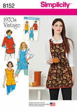 Simplicity 8152 Women XS-L Vintage Smock & Full Apron w/ Pockets Sleeves Pattern