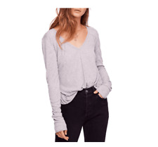 Free People Rock the Boat Long Sleeve Women's Clothing Gray Medium $40