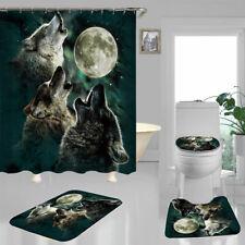 Moon Wolf Shower Curtain Bath Mat Toilet Cover Rug Bathroom Decor