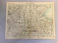 Antique Victorian Map Peterborough Late 1800s John Bartholomew 46cm x 36cm a1