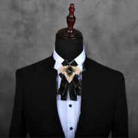 Men Crystal Satin Check Bownot Bow Ties Classic Suit Neck Decor Formal Wedding