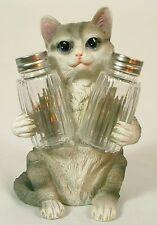 GRAY TIGER CAT SALT & PEPPER SHAKER HOLDER Polyresin Kitten NEW Dining Kitchen