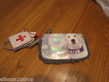 Fuzzynation fuzzy nation dog wristlet wallet change purse coin White golden NEW