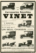 """""""CAROSSERIES VINET"""" Annonce originale entoilée LA VIE AUTOMOBILE 1911  25x35cm"""