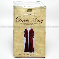 """DRESS STORAGE BAG 24 x 53"""" Zippered Dust Cover Clothes Plastic Protection H034"""