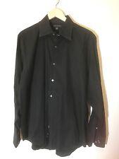 BANANA REPUBLIC Solid Black Dress Shirt Size XL Cotton Long Sleeves