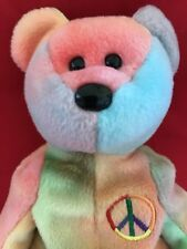 TY Beanie Babies PEACE BEAR Ty-Dyed, Unique Pink w/ Blue Face, 1996, Style 4053