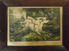 """Currier & Ives 1846 Colour Lithograph """"Mazeppa"""" -  *172 Years Old*& Period Frame"""