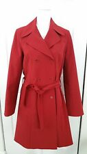 Theory Women Red Polyester Rain Long Double Breasted Trench Coat Size L