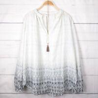 New Gap Womens Top Tall S Flowy V-Neck Ikat Shirt White Boho Gypsy Peasant