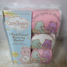 Lot of 3 Care Bears 2006 New 3 cotton flannel baby receiving blankets