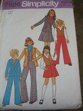 SIMPLICITY 7606 VTG SEWING PATTERN GIRL JACKET VEST SKIRT PANTS Size 8 OOP 1976