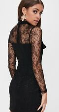 Missguided Black Lace Frill Long Sleeve Bodycon Dress Size 10 BNWT Party Wedding