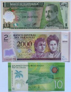 lot de 3 billets d'Amérique du Sud, Paraguay, guatemala, Nicaragua