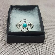 Sterling Silver 925 Pentacle Ring Genuine Turquoise- Multiple Sizes Available