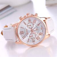 Fashion Geneva Women Gift Leather Band Stainless Steel Quartz Analog Wrist Watch