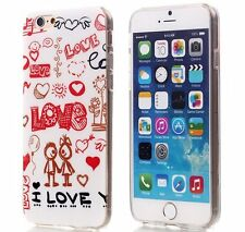 For iPhone 6 / 6S - HARD TPU RUBBER GUMMY SKIN CASE COVER RED HEART COUPLE LOVE