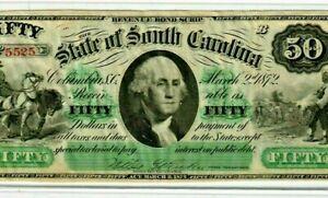 """$50 """"SOUTH CAROLINA"""" ( CRISPY) RARE $50 """"SOUTH CAROLINA"""" 1800'S SUPER CRISPY !!!"""