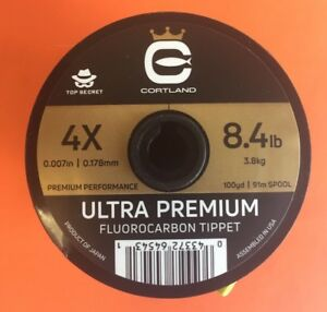 Cortland Ultra Premium Fluorocarbon Tippet 4X 100 Yards Top Secret Free Shipping