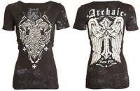 Archaic AFFLICTION Womens T-Shirt RUNE Cross Wings Tattoo Biker Sinful S-XL $40