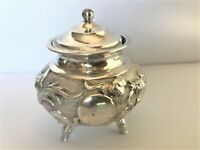 Antique Chinese Sterling Silver Master Salt Lid Footed Dragon Pearl Mustard Pot