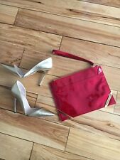 NWOT | Pollini | 100% Patent Leather Envelope Red Wristlet Clutch Gold hardware