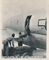 WWII  1945 USAAF OKINAWA Photo airplane C125th Advance Echelon arrives