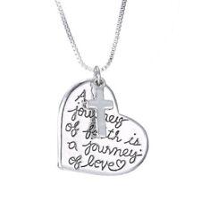 "Shiny Silver Tone Cross & A journey of faith Heart Pendant Necklace Gift 19"""