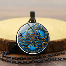 Women Men Black Pendant Necklace Blue Celtic Triquetra Glass Sweater Chain Gift