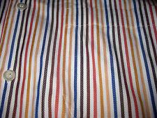 Ermenegildo Zegna Red Blue Yellow Brown White Striped Mens Cotton Dress Shirt XL