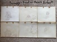 LOT OF 4 Harry Love 1940 Scrappy Practice Perfect Cartoon Animation Drawing Cel