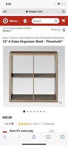 threshold 4 cube organizer weathered gray