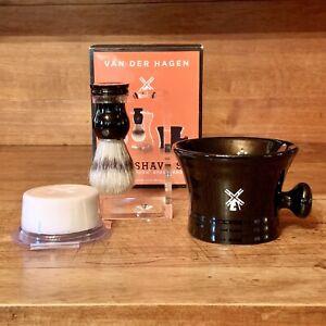 Van Der Hagen men's premium 4 piece luxury black porcelain shave set #400054 NEW
