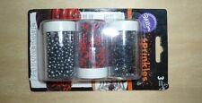 Wilton sprinkles Halloween 3 pack: spiders, black pearls, red & black jimmies