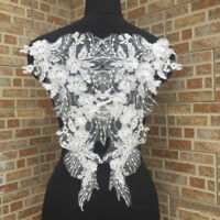 1 Pair Flower Embroidery Applique Lace DIY Sewing Craft Bridal Wedding Dress