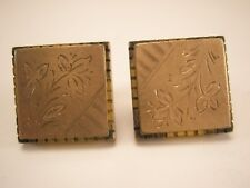 """Simple Floral Gold Tone Vintage Victorian Cuff Links Pat Aug 241880 """"Acme"""""""