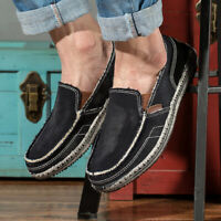 Men's Canvas Casual Loafers Antiskid Breathable Shoes Driving Slip on Moccasins