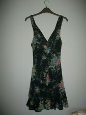 Topshop Kate Moss Navy Chiffon Rose Floral Fit & Flare Frill Ruffle Dress Size 8