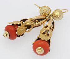 ♦ Ohrringe in aus 333 8kt 8 kt Gelb Gold mit Koralle Ohrhänger Ohrstecker Tracht