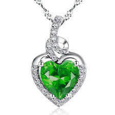 Mabella Simulated Emerald Birthstone Heart Necklace Sterling Silver Women Day
