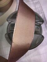 "10 yard 1"" wide vintage roll grosgrain mist brown ribbon hat dress"
